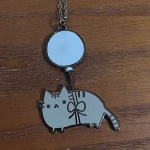 Pusheen Cat tied to a balloon necklace!